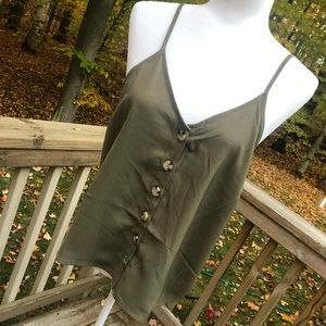 Anthropologie Paper Crane Tank Top Olive Buttons L